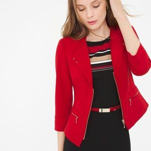 WHBM Red Crop Studded Zippy Moto Jacket